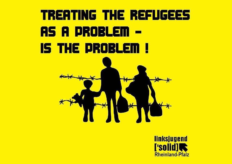 """Sticker mit der Aufschrift """"Treating the refugees as a problem is the problem"""" der linksjugend ['solid] Rheinland-Pfalz."""