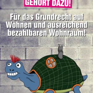 """""""Ein Dach über'm Kopf gehört dazu! Für das Grundrecht auf Wohnen und ausreichend bezahlbaren Wohnraum"""" Sticker Linksjugend ['solid] Rheinland-Pfalz"""